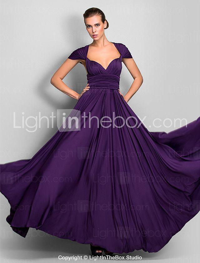 Lanting Bride® Hasta el Suelo Jersey Vestido Convertible Vestido de ...