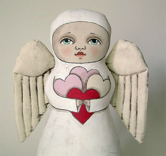 Heart Angel Contemporary Folk Art Doll Made by CartBeforeTheHorse