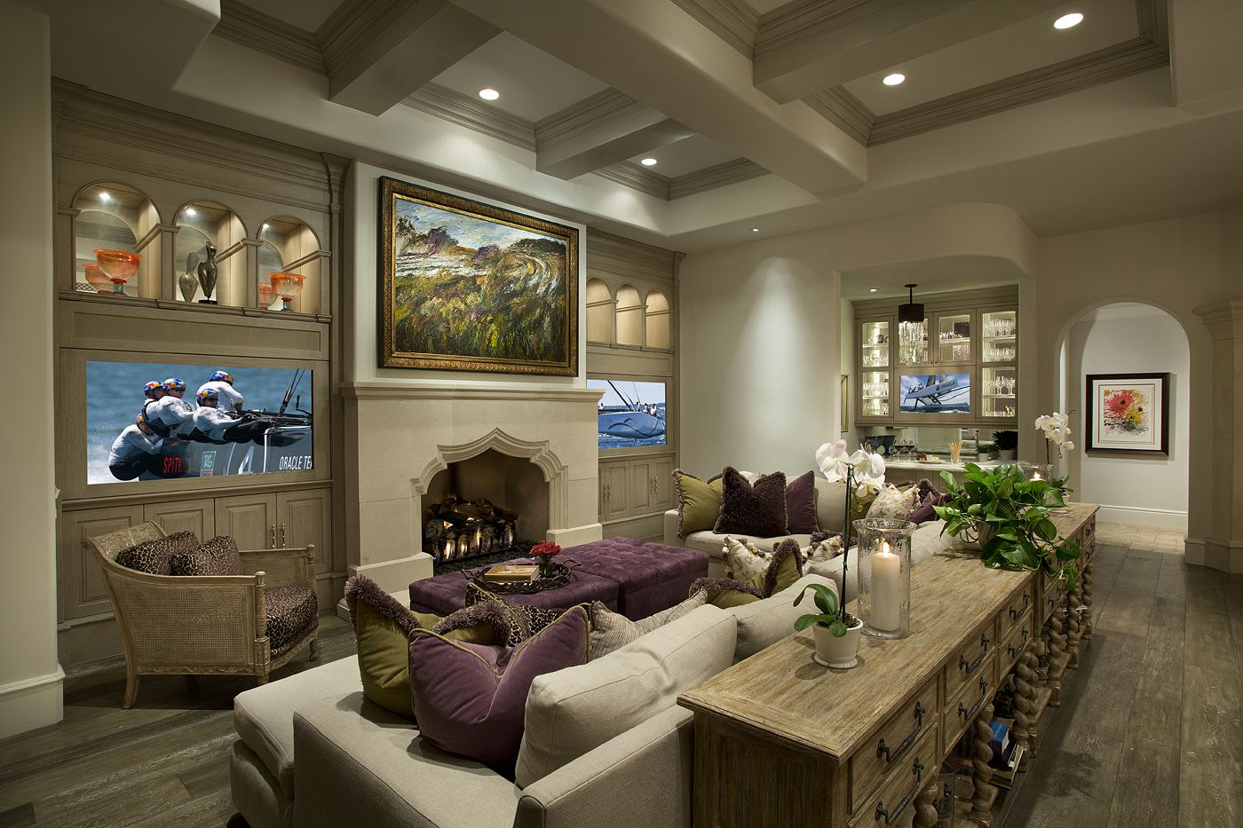 Contemporary Modern Living Room With Two Televisions On Either Side Of The Fireplace Cozy Hom Cozy Interior Design Living Room Designs Country Interior Design