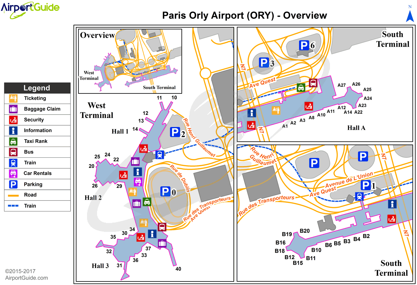 Paris ParisOrly (ORY) Airport Terminal Map Overview
