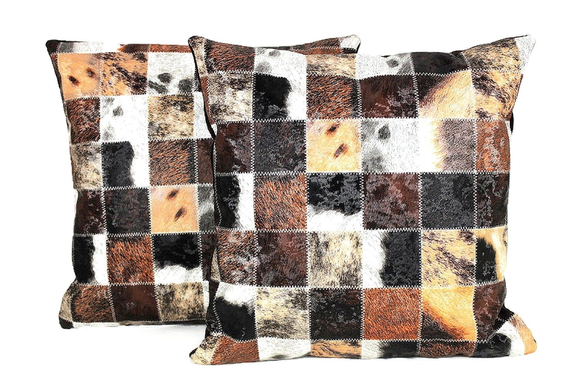 Cow print patchwork pillow cover faux leather couch throw