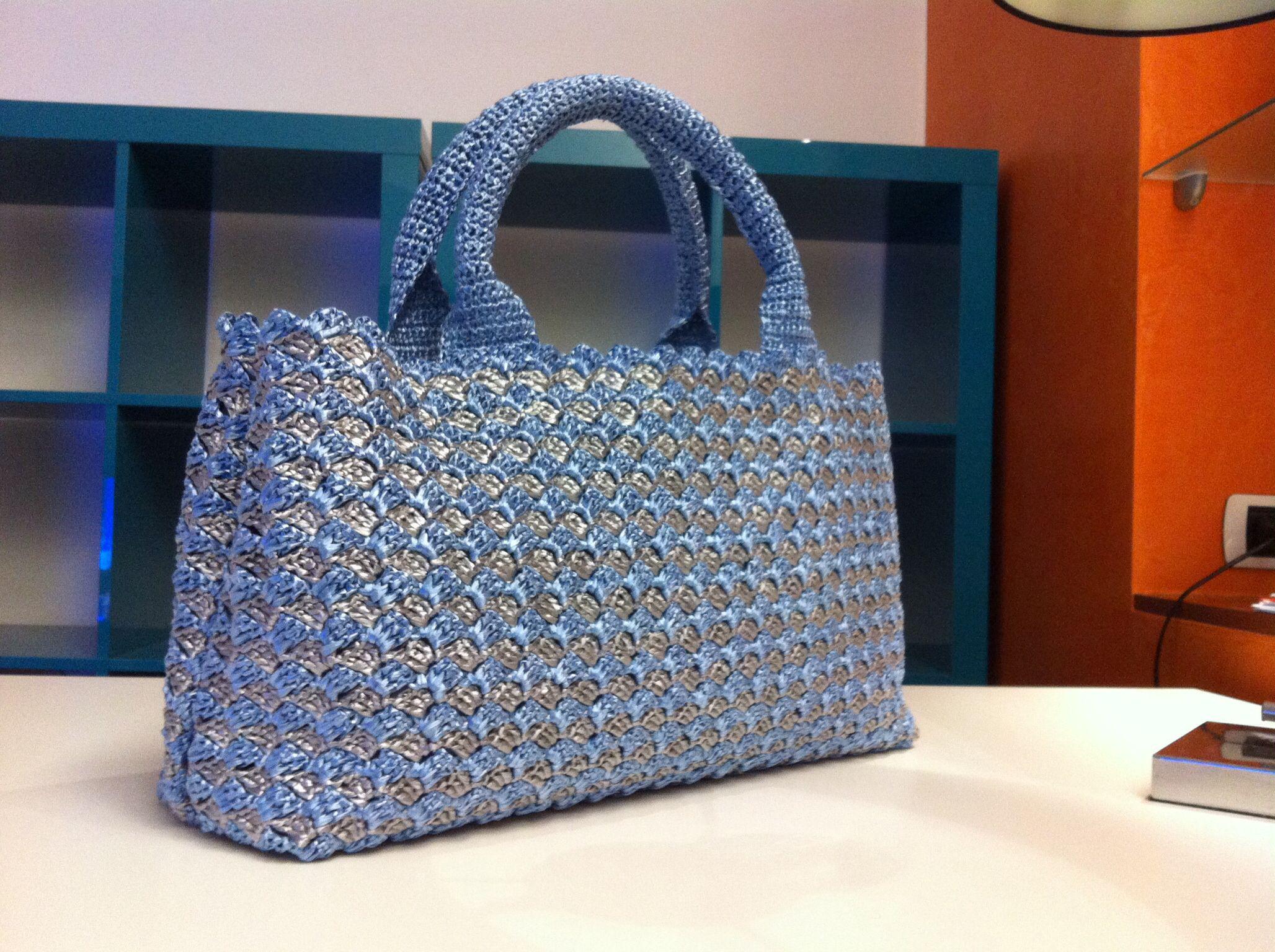 Super Borsa mod Prada in rafia di viscosa | Bags - Crochet and Knit  FF71