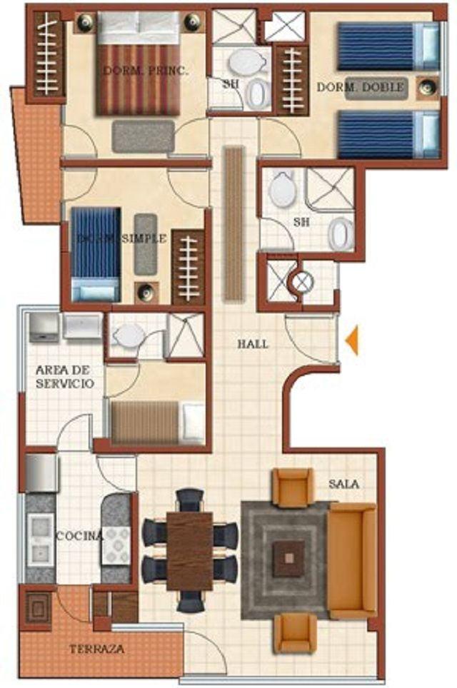 Plano de casa de una planta con 4 dormitorios planos for Dormitorio 10 metros cuadrados
