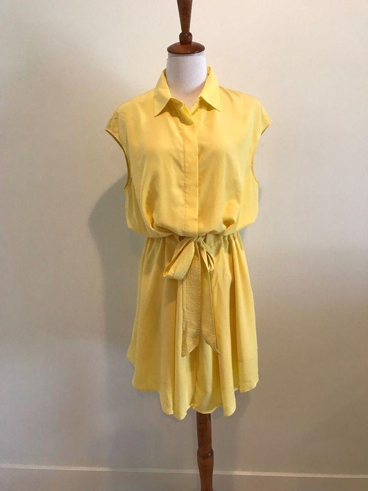 f3d1a6e2ec Tory Burch Yellow Cap Sleeve Silk Gigi Belted Waist Shirt Dress 8 Medium   fashion  clothing  shoes  accessories  womensclothing  dresses  ad (ebay  link)