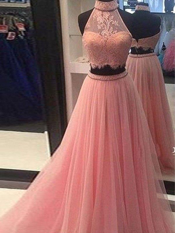 78ebfa8d2aa A-Line Princess Sleeveless High Neck Tulle Lace Floor-Length Two Piece  Dresses