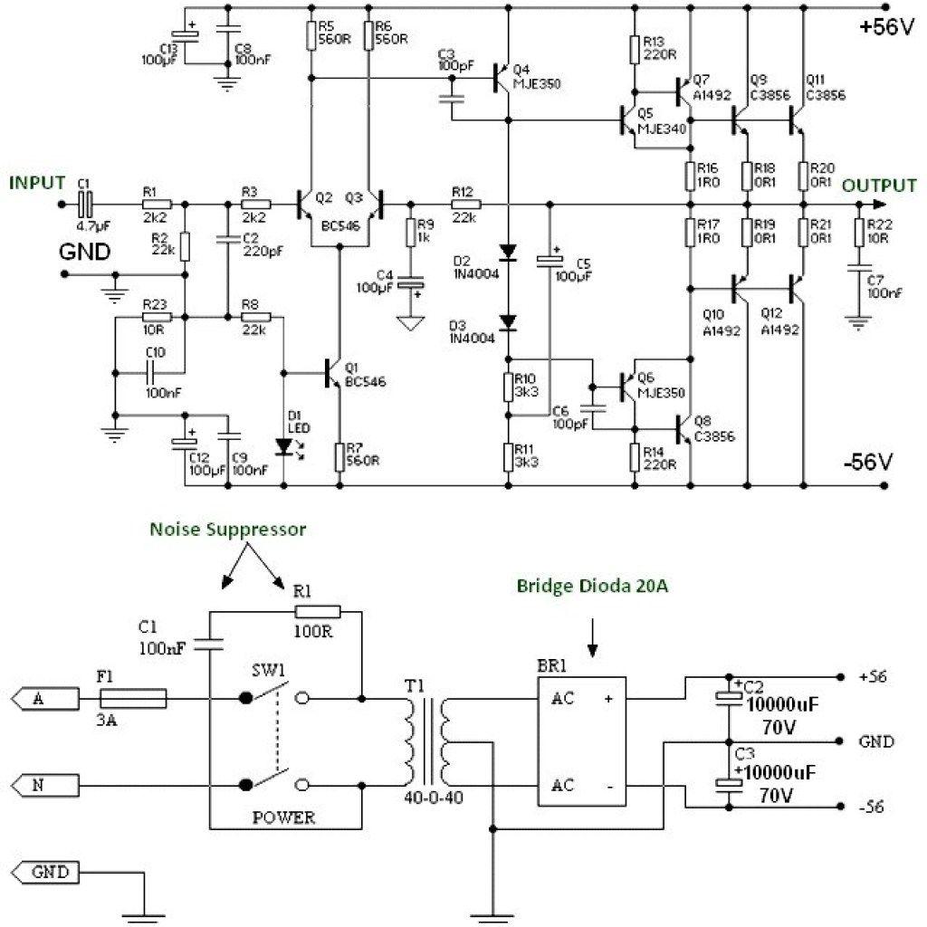 150w Power Amplifier Schematic Diagram