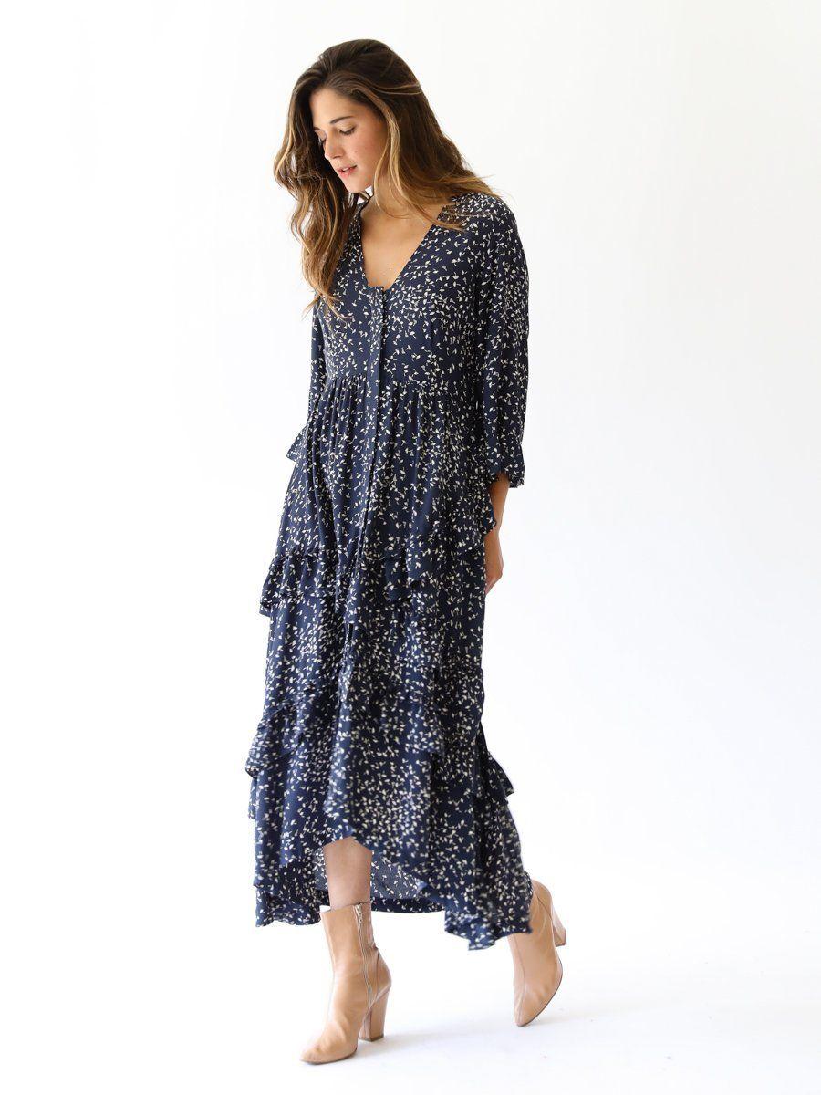 0cedd42dea GANNI - Barra Crepe Ruffle Dress in Total Eclipse