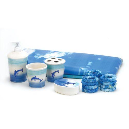 37749 Dolphin Bathroom Set Shower Curtain Toothbrush Cup Dish Lotion Pump | eBay