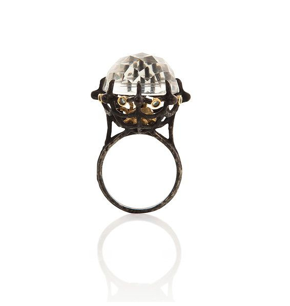 Anna Ruth Henriques blackened silver, gold and gemstone ring.