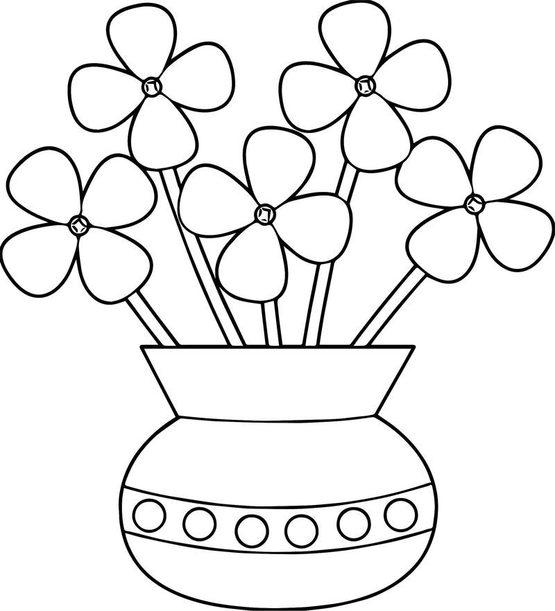 Flowerpot Flower Coloring Page Printable Flower Coloring Pages
