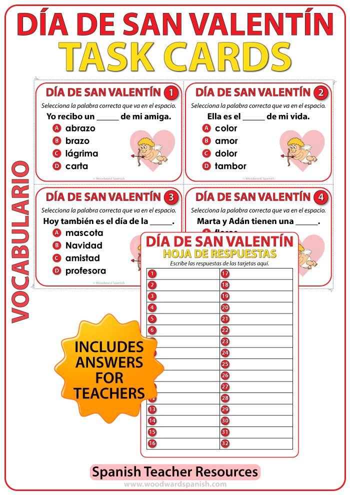 Spanish Task Cards - Día de San Valentín - NOUNS | Pinterest ...