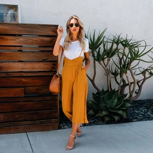 2018 New style Fashion Summer women Straight trousers Sweet Mid Broadcloth green yellow Regular Ankle-Length Pants