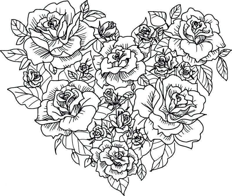 Flower Heart Coloring Pages For Adults Heart Coloring Pages Rose Coloring Pages Flower Coloring Pages