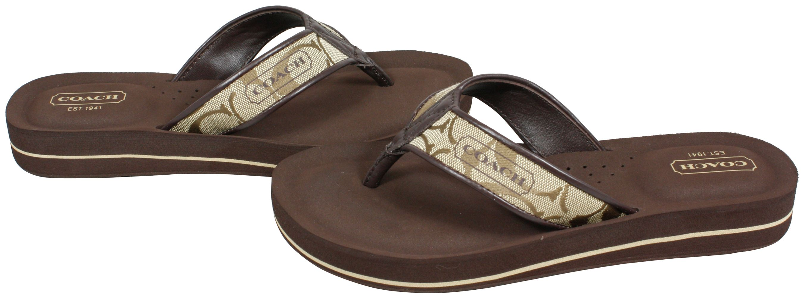 47f64822c5d Coach Signature Jolie Flip Flops Sandals Khaki Chestnut Shoes 11 New ...
