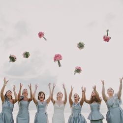 Bride and her bridesmaids having fun right after the ceremony. Photo by: Becka & Nate Robinson
