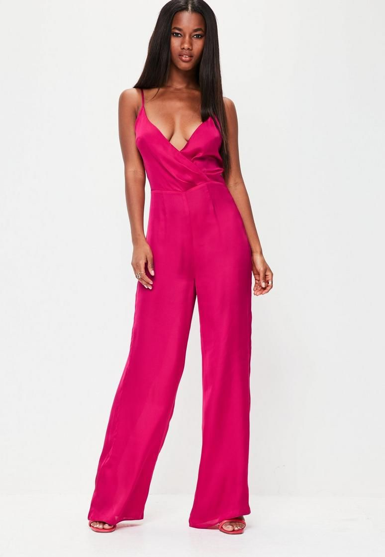 Pink Satin Wrap Front Strappy Jumpsuit   PINK   Pinterest