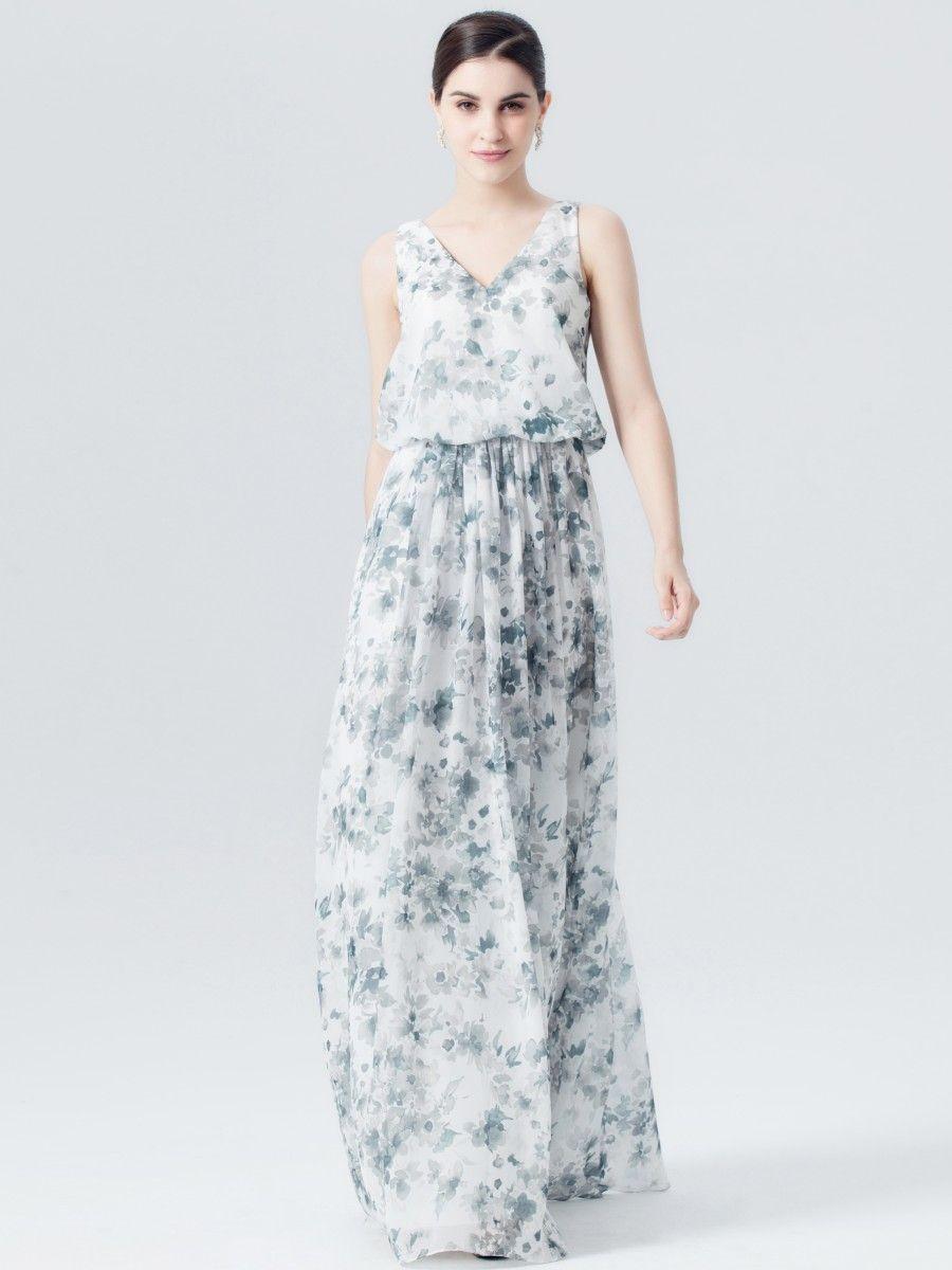 V Neck Teal Floral Print Dress Color Light Teal Print Fabric Floral Chiffon Floral Chiffon Dress Bridesmaid Dresses Dresses