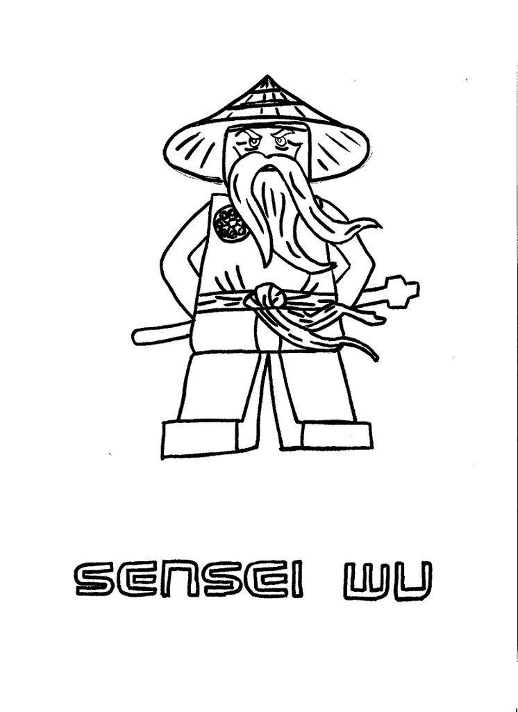 kleurplaat ninjago sensei wu | lego | lego ninjago, lego coloring