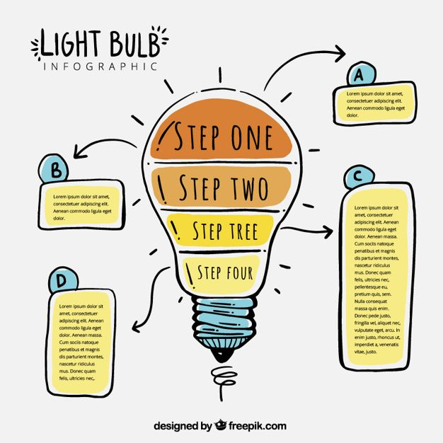 Download Fantastic Light Bulb Infographic With Four Steps