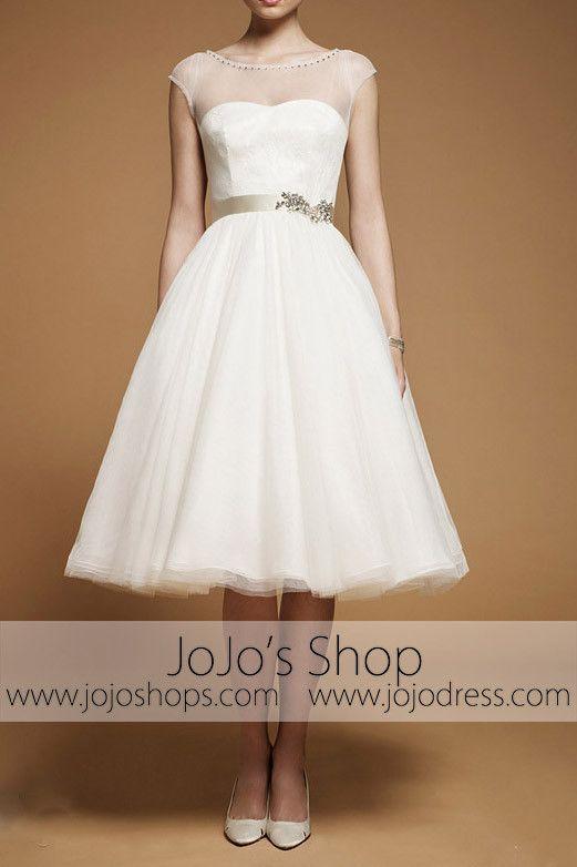 d1f8418d2da3 Retro 50s 60s Short Knee Length Modest Short Sleeves Wedding Dress with Sash  Tie