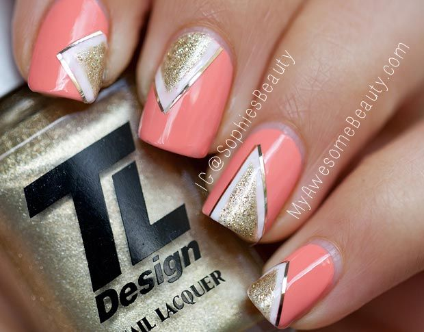 stripes gold white geometry coral nails - Stripes Gold White Geometry Coral Nails If I Had Any Patience