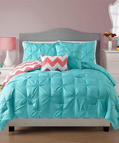 Victoria Classics Turquoise & Coral Sophia Comforter Set | Coral