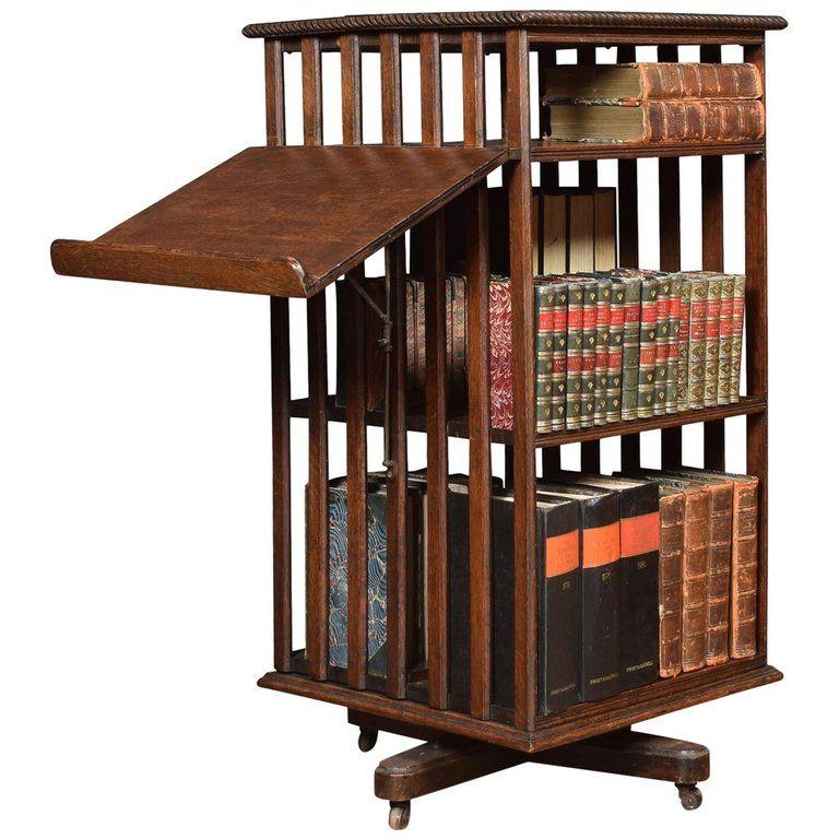 Oak Three Tier Revolving Bookcase Revolving Bookcase Antique
