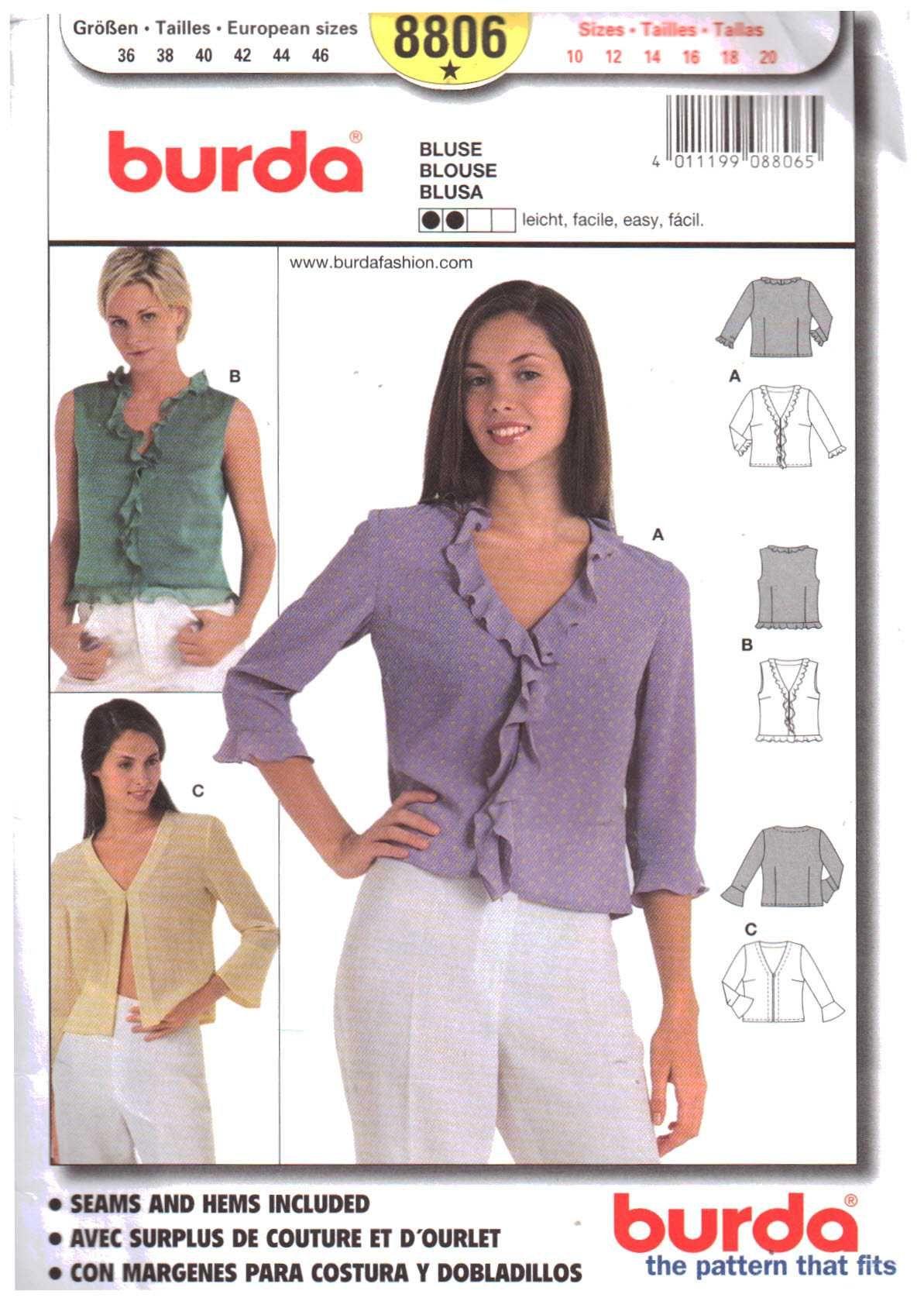 Burda 8806 Blouse Size: 10-12-14-16-18-20 Uncut   Newest Sewing ...