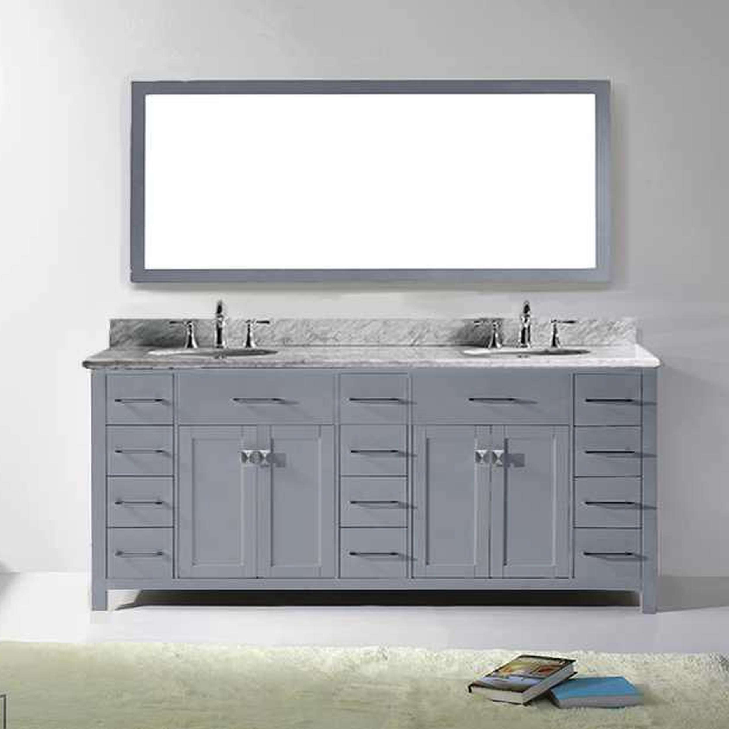 Virtu USA Caroline Parkway Grey Double Bathroom Vanity Set With White  Marble Top