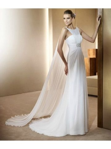 Bateau Sweep Train Column Chiffon Wedding Dress - wouldn't normally pin something like this, but it's very vintage chic