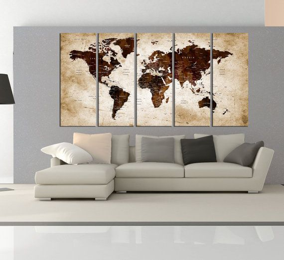 Extra large world map canvas wall art print, Push pin world map for ...