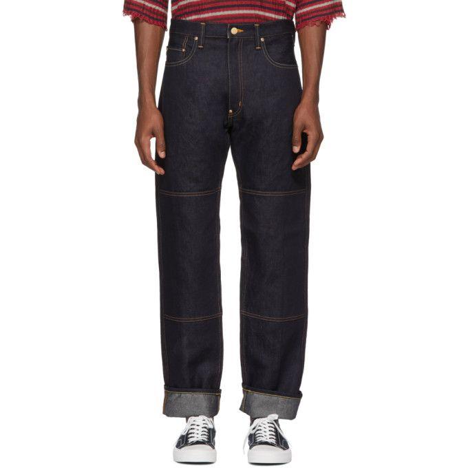 Indigo Carhartt Edition Linen Denim Mix Jeans Junya Watanabe Cheap Sale New Free Shipping Footlocker Finishline Sale Recommend Cheap Sale Store Cheap Best Sale RDl01OKJ