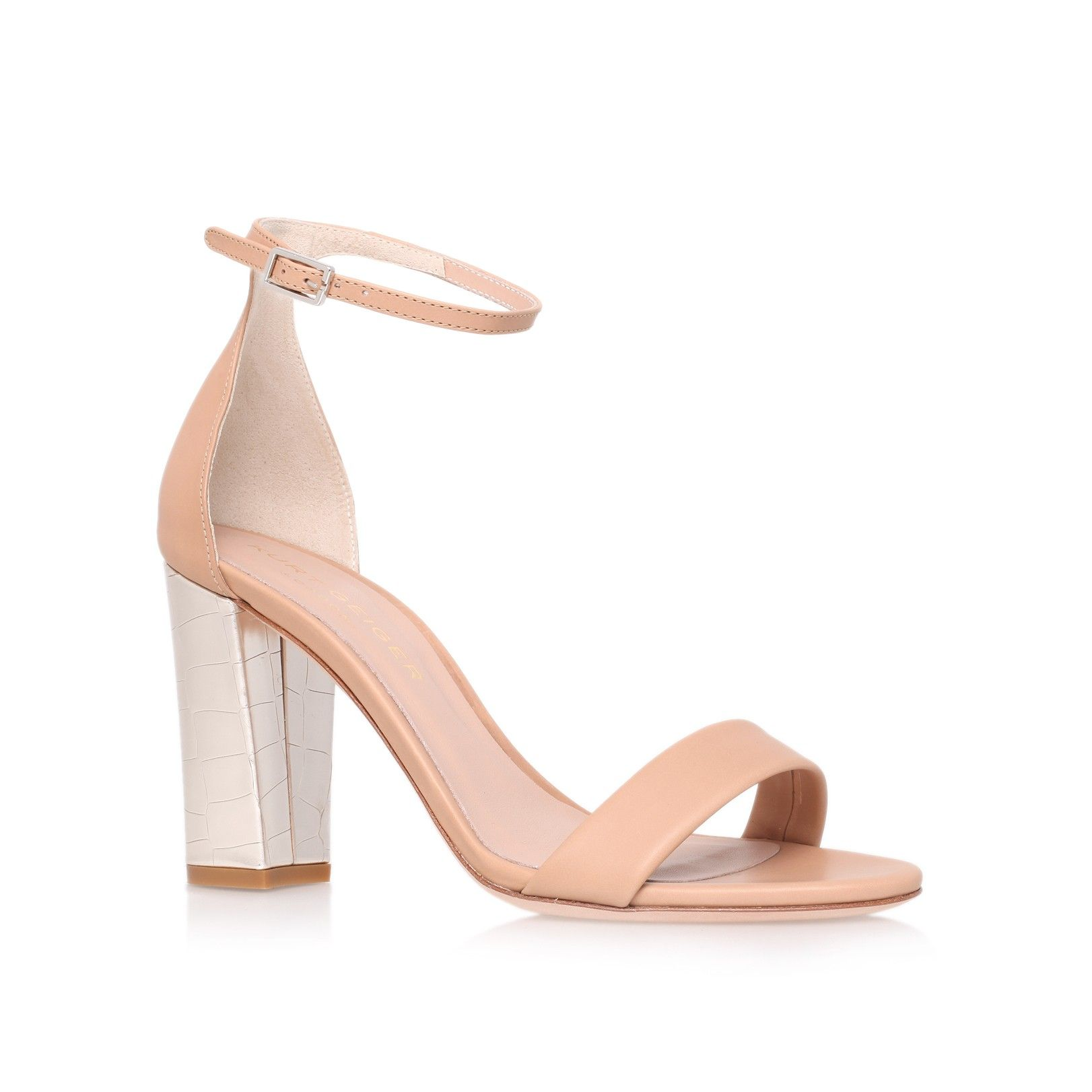 Cross Strap Metallic Block Heel Sandal - White Kurt Geiger VrrJ7