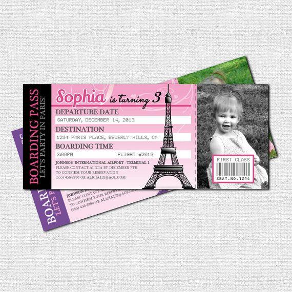 PARIS BOARDING PASS INVITATIONS