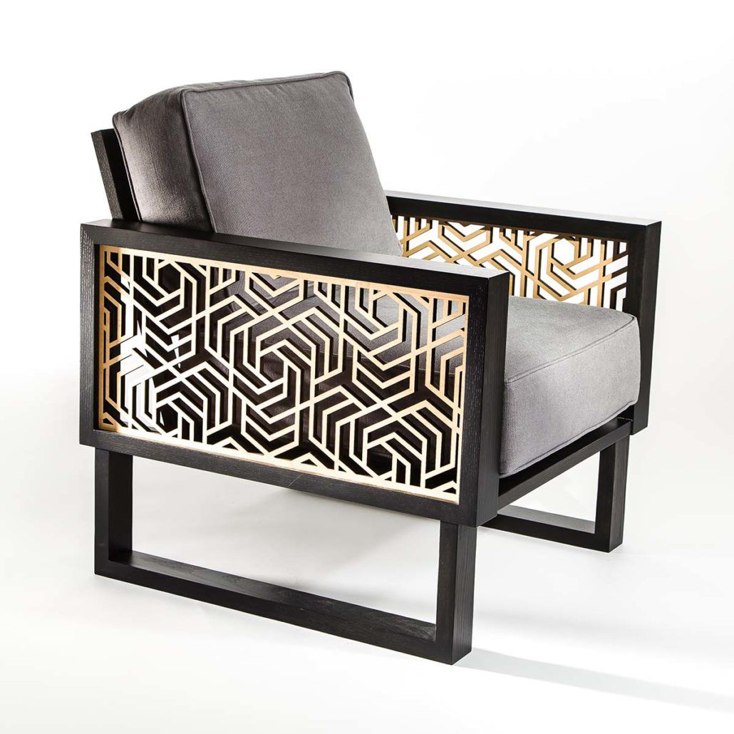 Contemporary Lounge Chair Featuring Interchangeable Laser