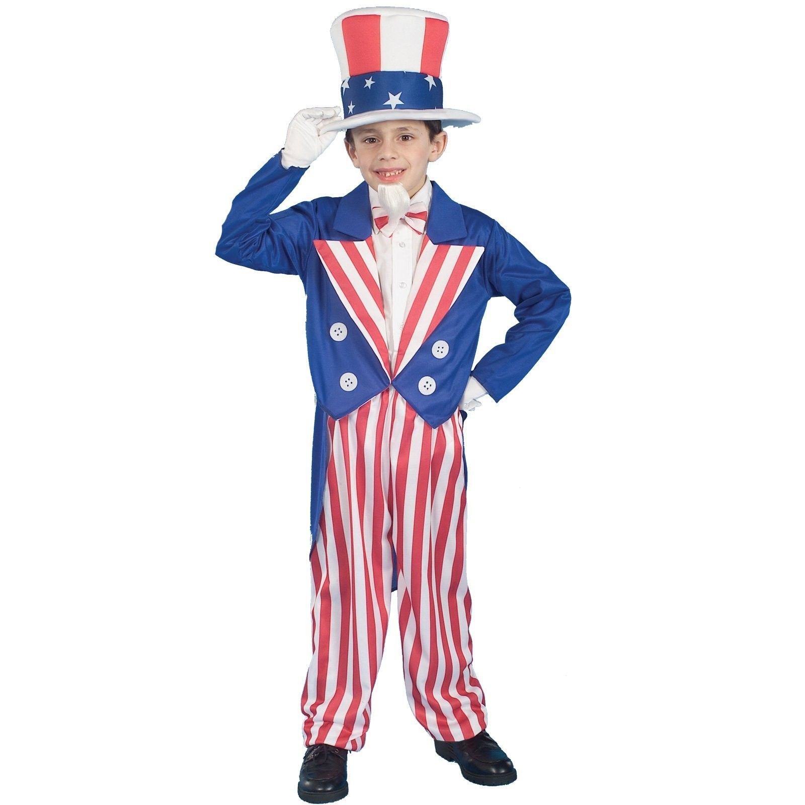 Uncle Sam Child Costume - This patriotic costume includes red, white and blue hat, jacket, bowtie and pants.  White shirt, goatee, gloves and black shoes not included. Medium.