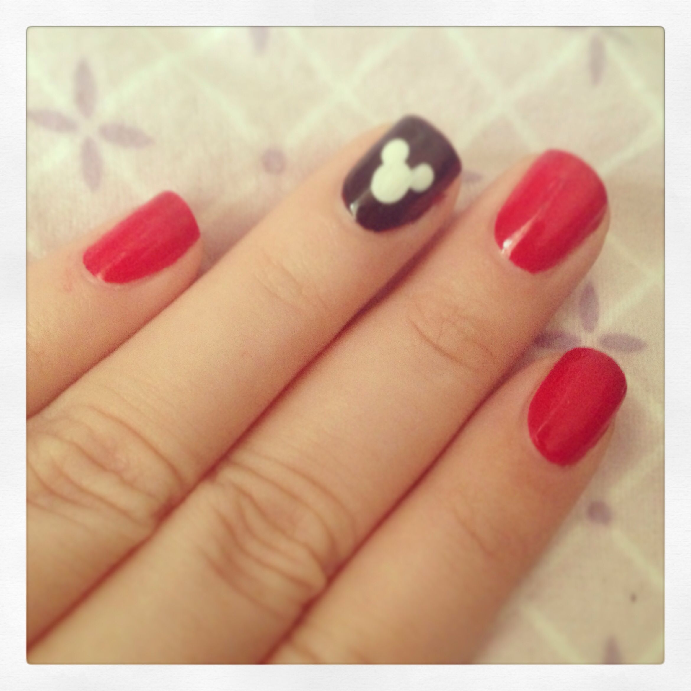 Simple mickey disney nails manicure red black white | Nails ...