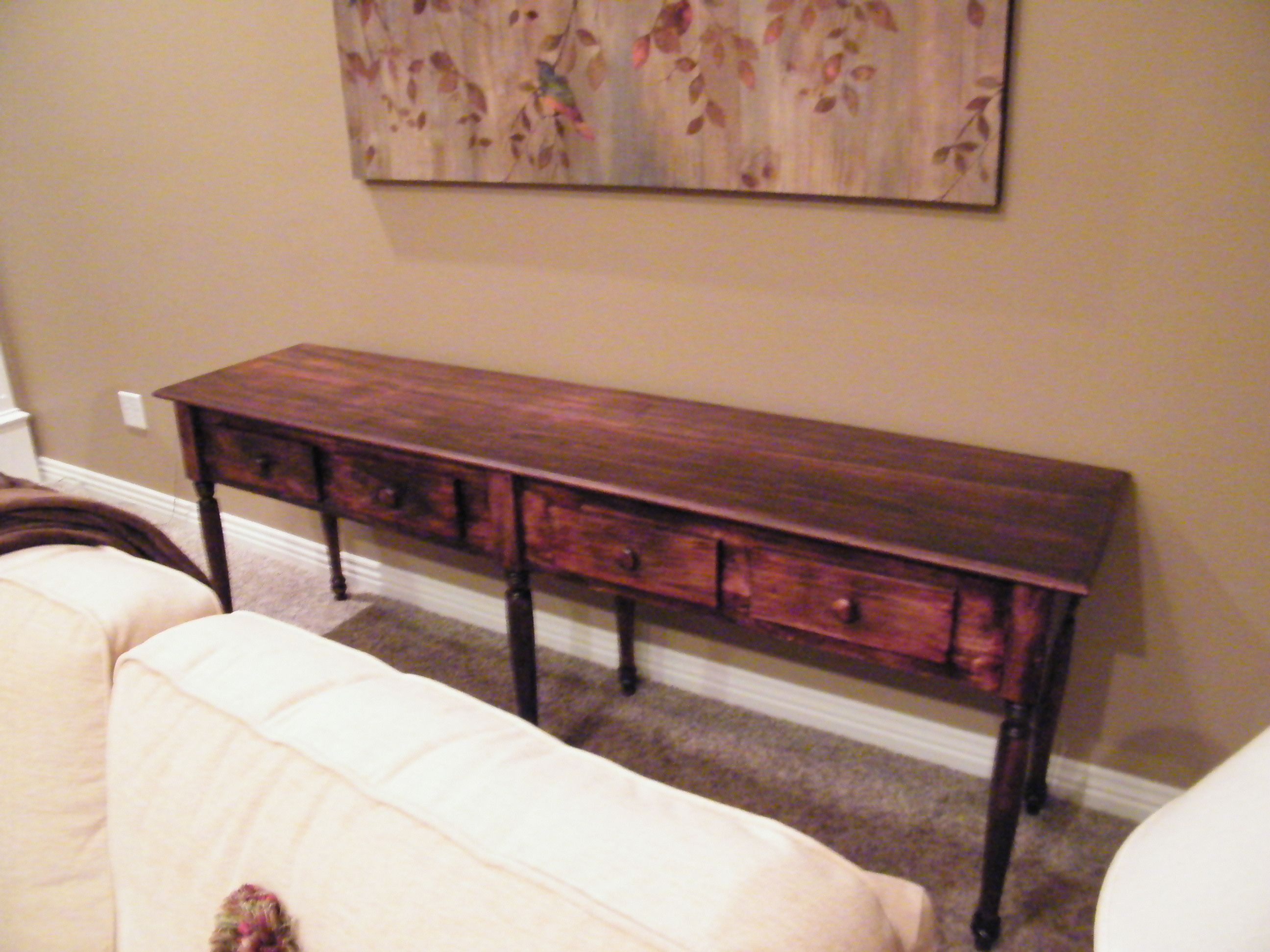 Completed sofa/buffet table--customer in Siloam Springs, Arkansas ...