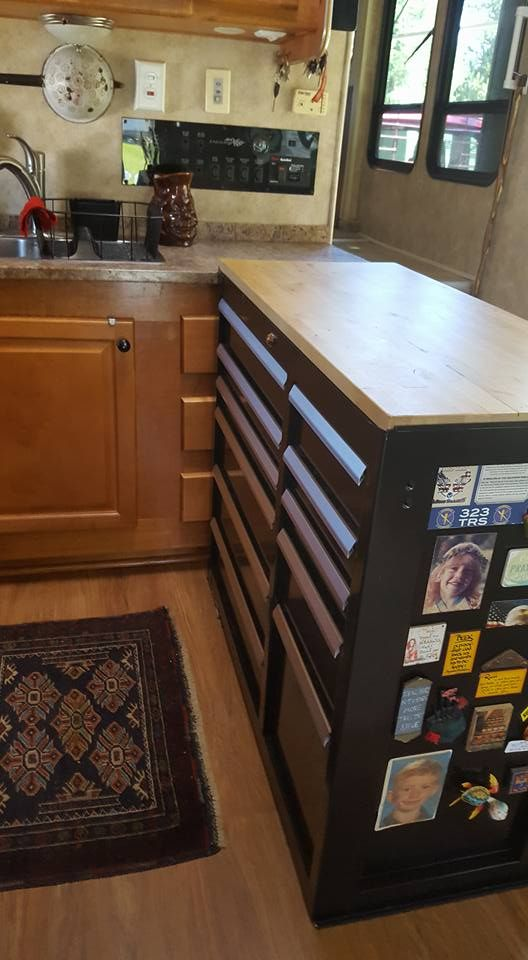 Craftsman toolbox for RV kitchen island. LOTS of storage ...