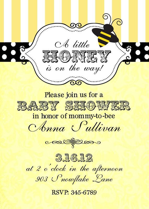 Bumble Bee Baby Shower Invitations Digital or by noteablechic 950