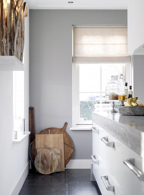 Afbeeldingsresultaat voor witte keuken grijze muur keuken pinterest grijs keuken en muur - Werkblad voor witte keuken ...
