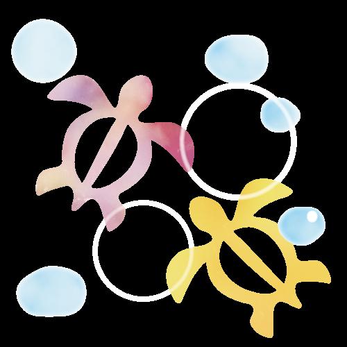ハイビスカスとホヌのイラスト 花 イラスト ハワイアン イラスト ウミガメ イラスト