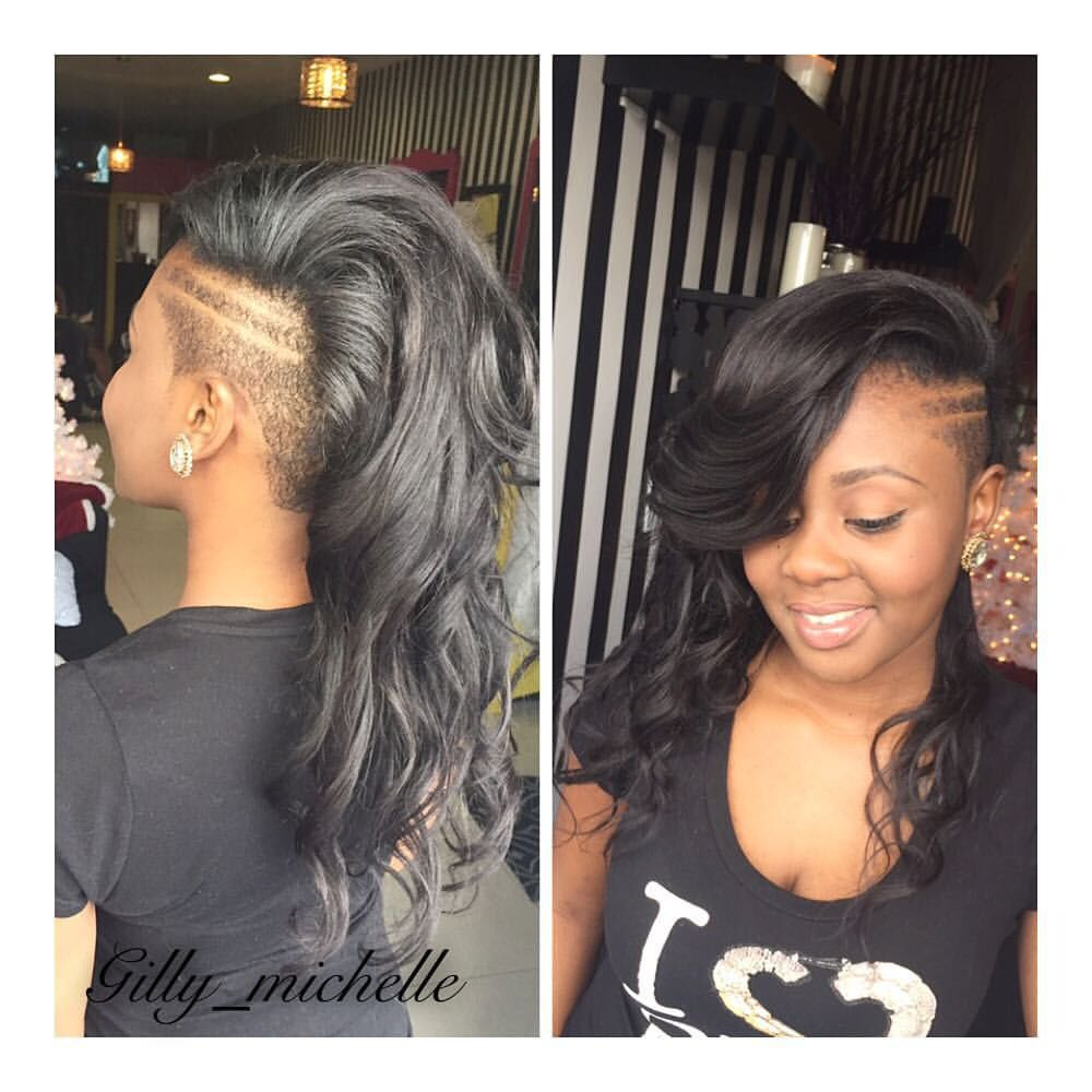 ❥ shaved side | pony hawk | hair styles, shaved side