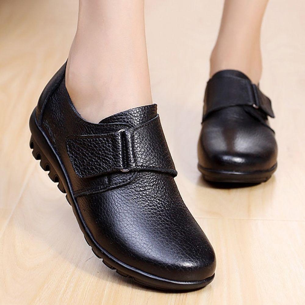 2020 Autumn Fashion Flat Women Shoes Genuine Leather
