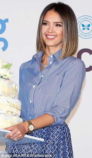 Jessica Alba is pretty as a picture in a shirt and