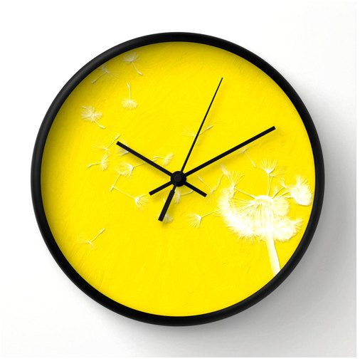 Dandelion Freesia And White Decorative Wall Clock By Bonniebruno 44 00 Clock Wall Decor Wall Clock Clock