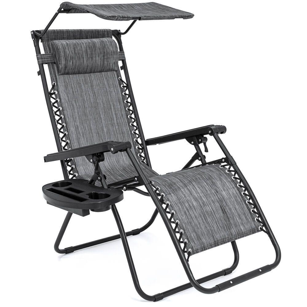 Outdoor Patio Chair Zero Gravity Portable W/ Canopy Tray