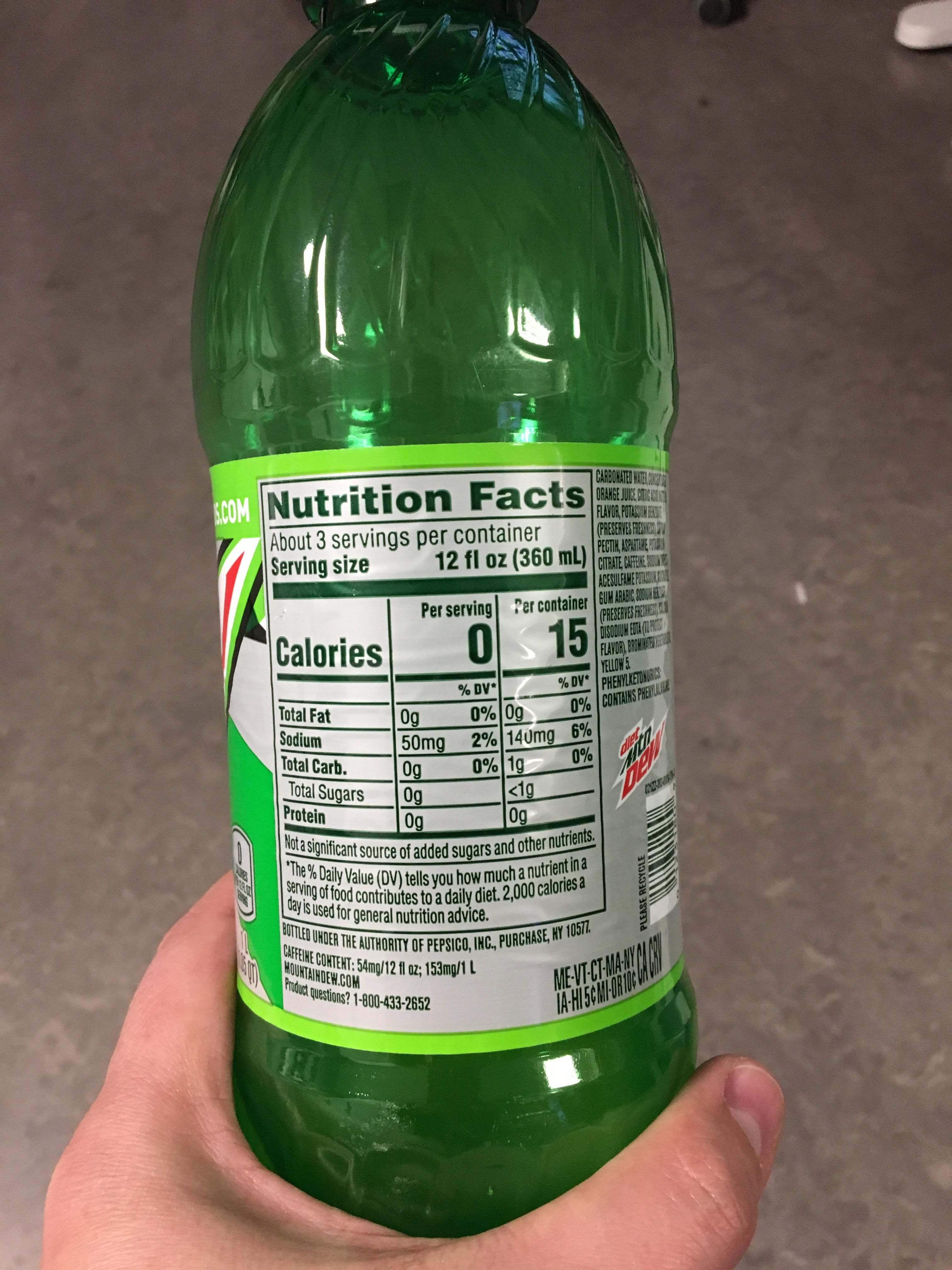 My Diet Mt Dew Has A Per Serving And A Per Container Nutritional Information Nutrition Soju Bottle Dv A
