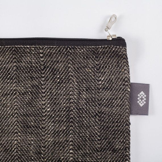 Small Black Linen Makeup Bag, Small Canvas Zipper Bag, Clutch Bag ...