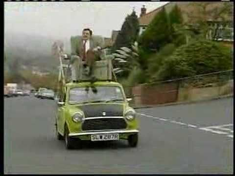 This Video Is Absolutely Hilarious It Shows Mr Bean Driving His Mini Cooper With A Broom I Laugh Everytime I W British Tv Comedies Mr Bean Famous Movie Cars